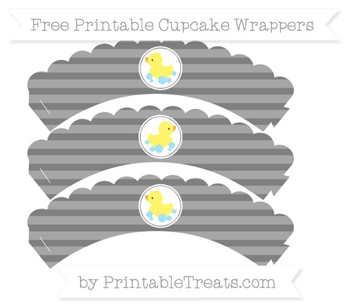 Free Grey Horizontal Striped Baby Duck Scalloped Cupcake Wrappers
