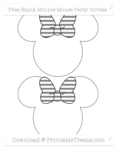 Free Grey Horizontal Striped Blank Minnie Mouse Party Invites