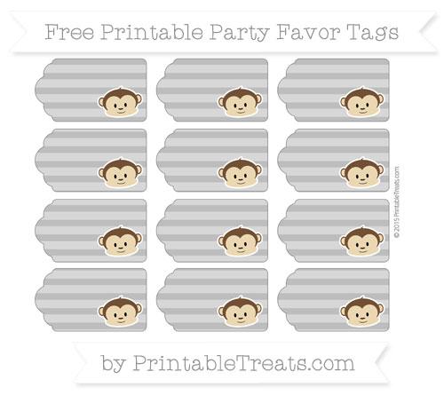 Free Grey Horizontal Striped Boy Monkey Party Favor Tags