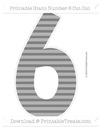 Free Grey Horizontal Striped Giant Number 6 Cut Out