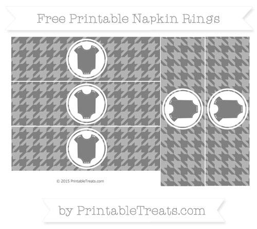Free Grey Houndstooth Pattern Baby Onesie Napkin Rings