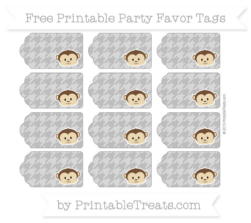 Free Grey Houndstooth Pattern Boy Monkey Party Favor Tags