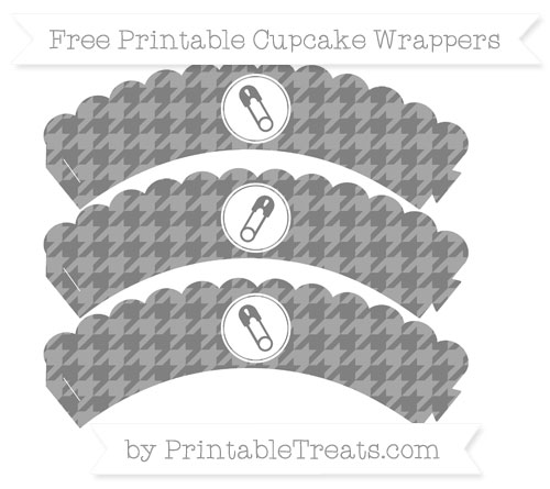 Free Grey Houndstooth Pattern Diaper Pin Scalloped Cupcake Wrappers