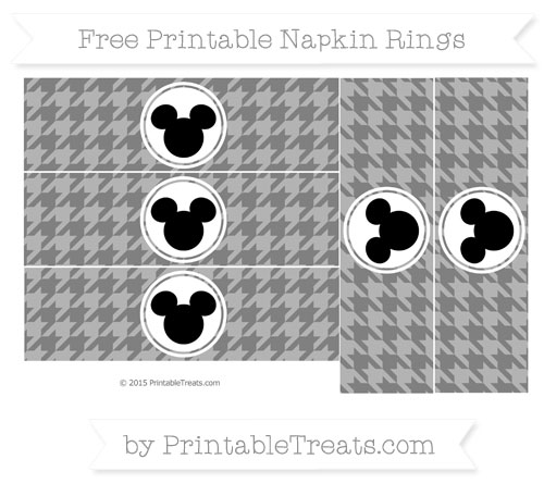 Free Grey Herringbone Pattern Mickey Mouse Napkin Rings