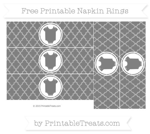 Free Grey Moroccan Tile Baby Onesie Napkin Rings