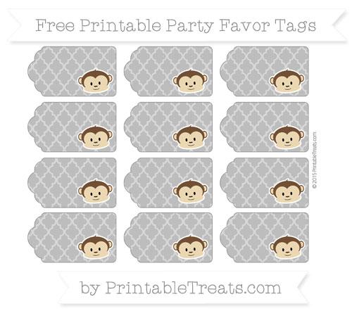 Free Grey Moroccan Tile Boy Monkey Party Favor Tags