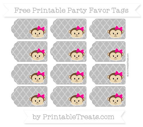 Free Grey Moroccan Tile Girl Monkey Party Favor Tags