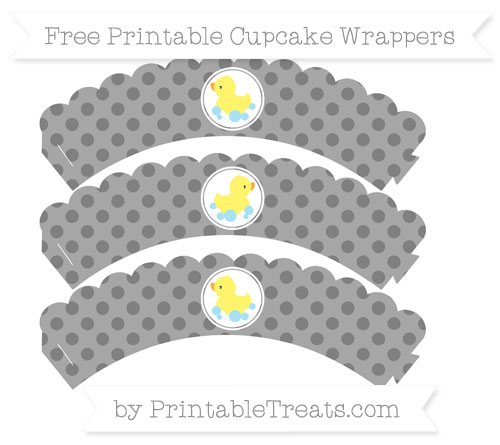 Free Grey Polka Dot Baby Duck Scalloped Cupcake Wrappers