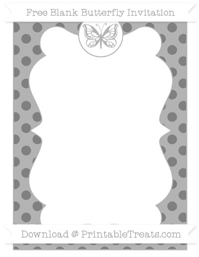 Free Grey Polka Dot Blank Butterfly Invitation