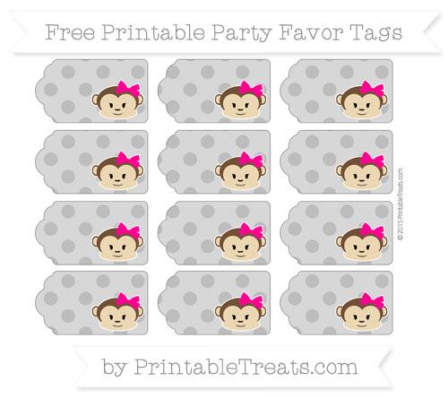 Free Grey Polka Dot Girl Monkey Party Favor Tags