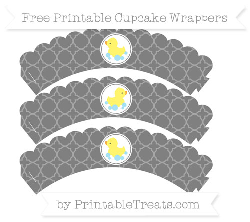 Free Grey Quatrefoil Pattern Baby Duck Scalloped Cupcake Wrappers
