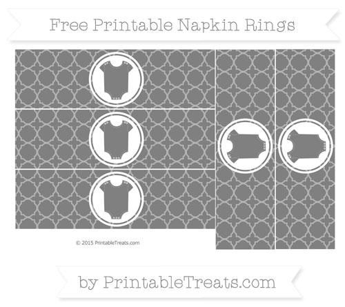 Free Grey Quatrefoil Pattern Baby Onesie Napkin Rings
