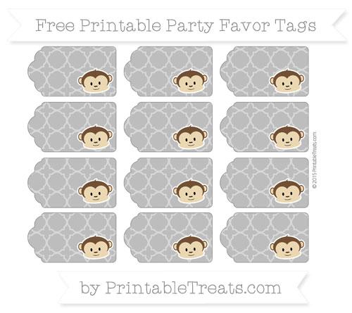 Free Grey Quatrefoil Pattern Boy Monkey Party Favor Tags