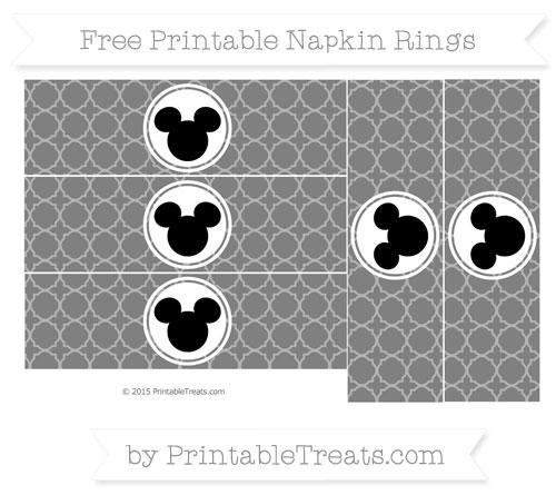 Free Grey Quatrefoil Pattern Mickey Mouse Napkin Rings