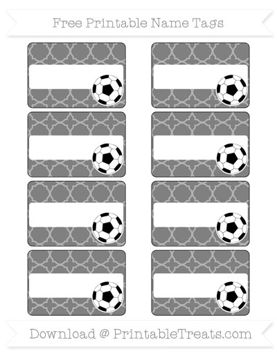 Free Grey Quatrefoil Pattern Soccer Name Tags