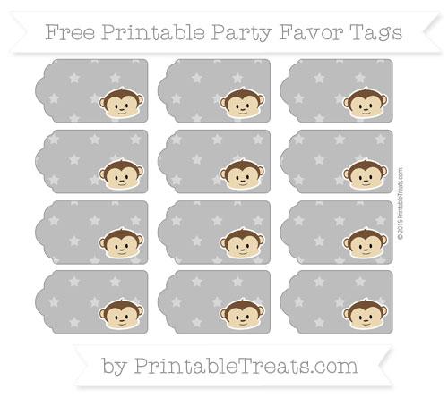 Free Grey Star Pattern Boy Monkey Party Favor Tags
