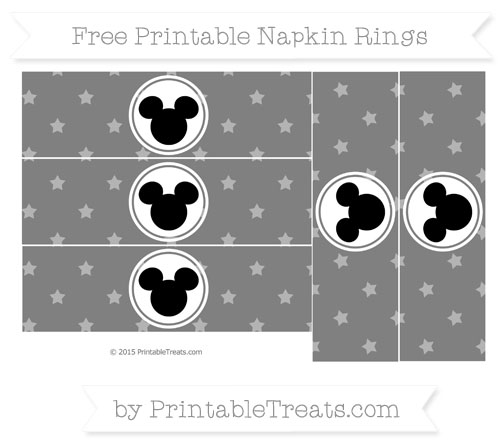 Free Grey Star Pattern Mickey Mouse Napkin Rings