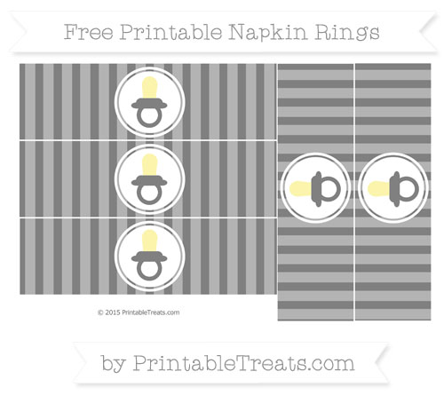 Free Grey Striped Baby Pacifier Napkin Rings