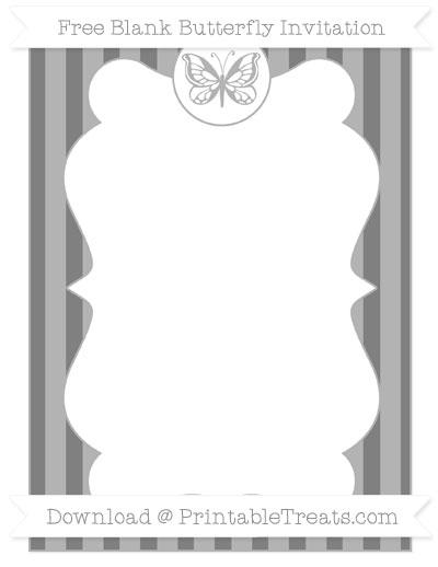 Free Grey Striped Blank Butterfly Invitation