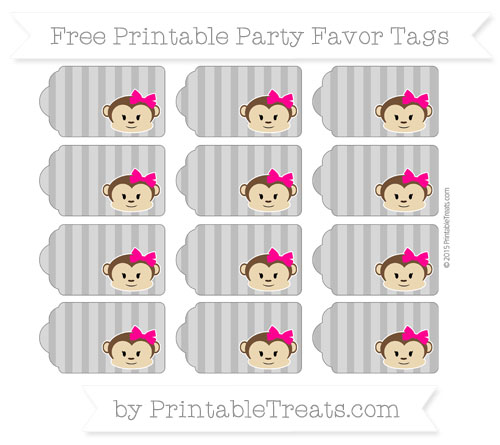 Free Grey Striped Girl Monkey Party Favor Tags