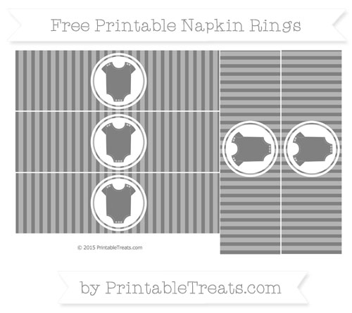 Free Grey Thin Striped Pattern Baby Onesie Napkin Rings