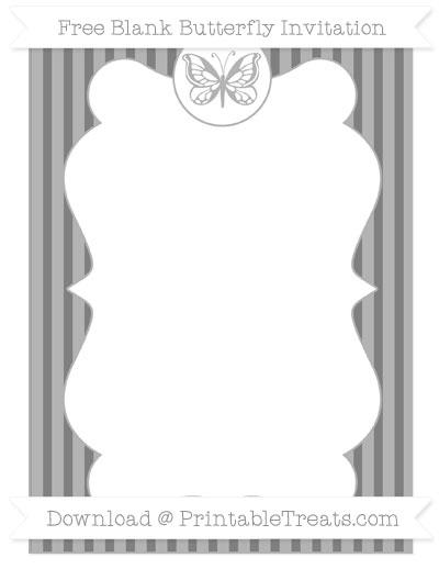 Free Grey Thin Striped Pattern Blank Butterfly Invitation