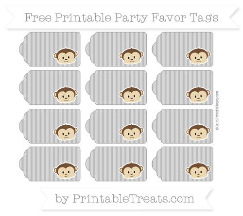 Free Grey Thin Striped Pattern Boy Monkey Party Favor Tags