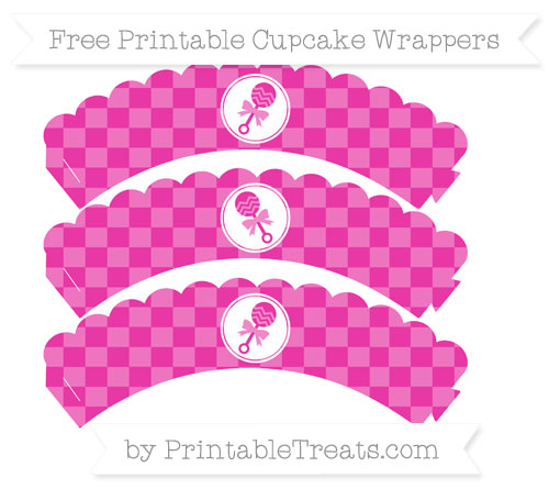 Free Hot Pink Checker Pattern Baby Rattle Scalloped Cupcake Wrappers