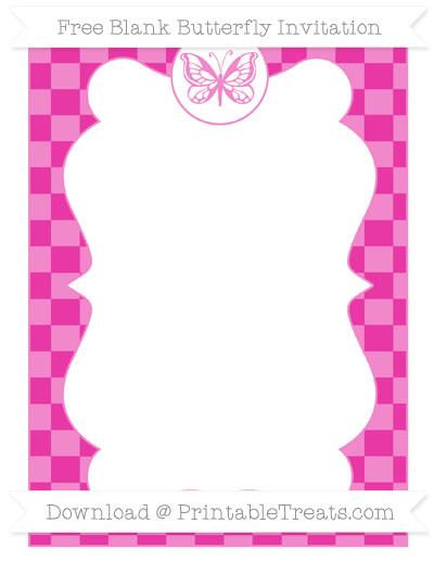 Free Hot Pink Checker Pattern Blank Butterfly Invitation