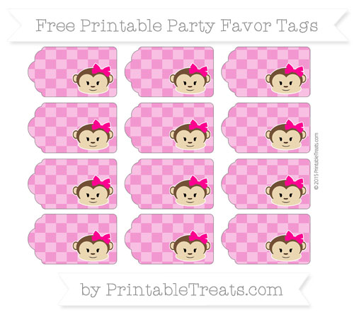 Free Hot Pink Checker Pattern Girl Monkey Party Favor Tags