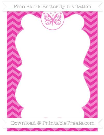 Free Hot Pink Chevron Blank Butterfly Invitation