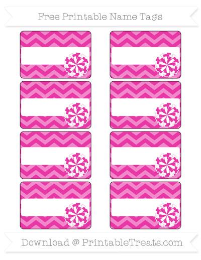 Free Hot Pink Chevron Cheer Pom Pom Tags