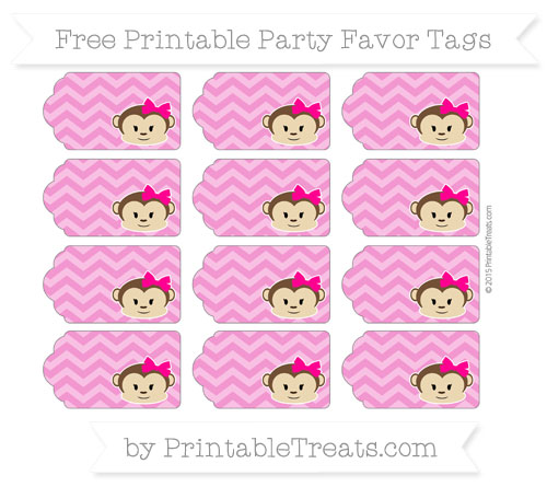 Free Hot Pink Chevron Girl Monkey Party Favor Tags