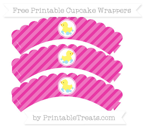 Free Hot Pink Diagonal Striped Baby Duck Scalloped Cupcake Wrappers