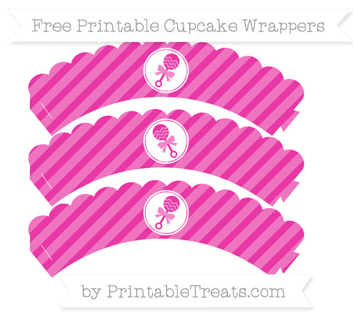 Free Hot Pink Diagonal Striped Baby Rattle Scalloped Cupcake Wrappers