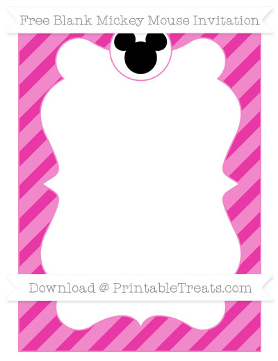 Free Hot Pink Diagonal Striped Blank Mickey Mouse Invitation