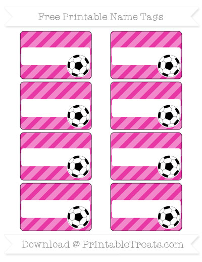Free Hot Pink Diagonal Striped Soccer Name Tags
