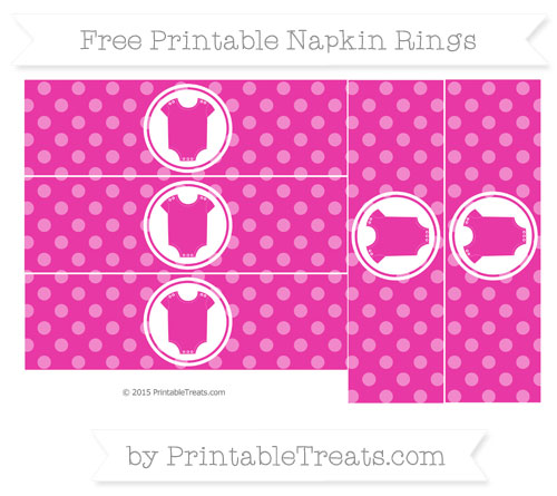 Free Hot Pink Dotted Pattern Baby Onesie Napkin Rings