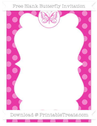 Free Hot Pink Dotted Pattern Blank Butterfly Invitation