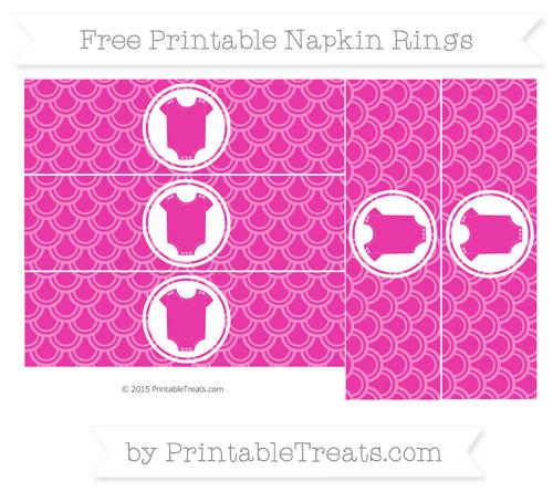 Free Hot Pink Fish Scale Pattern Baby Onesie Napkin Rings