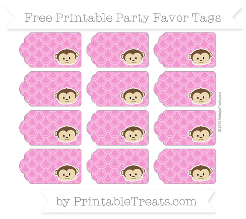 Free Hot Pink Fish Scale Pattern Boy Monkey Party Favor Tags