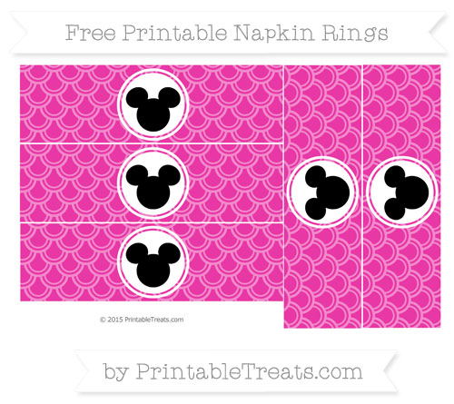 Free Hot Pink Fish Scale Pattern Mickey Mouse Napkin Rings