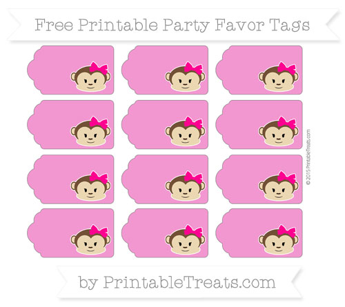 Free Hot Pink Girl Monkey Party Favor Tags