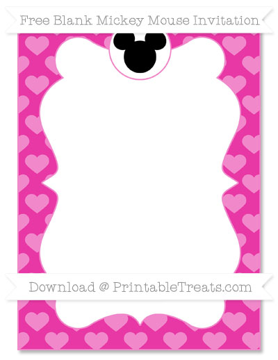 Free Hot Pink Heart Pattern Blank Mickey Mouse Invitation