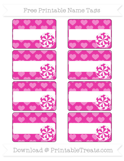 Free Hot Pink Heart Pattern Cheer Pom Pom Tags