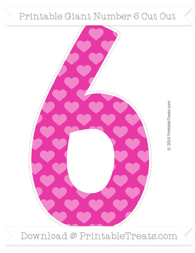 Free Hot Pink Heart Pattern Giant Number 6 Cut Out