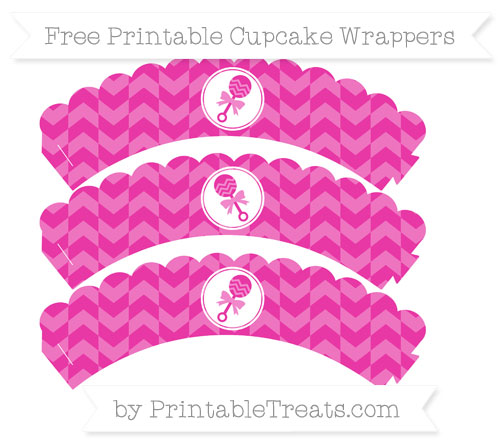 Free Hot Pink Herringbone Pattern Baby Rattle Scalloped Cupcake Wrappers