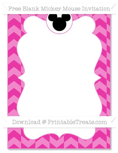 Free Hot Pink Herringbone Pattern Blank Mickey Mouse Invitation