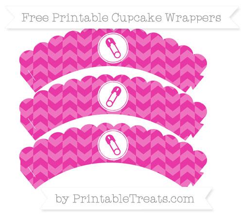 Free Hot Pink Herringbone Pattern Diaper Pin Scalloped Cupcake Wrappers