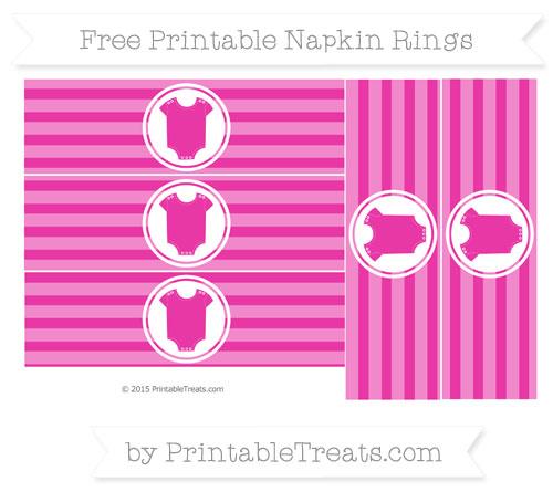 Free Hot Pink Horizontal Striped Baby Onesie Napkin Rings